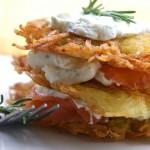 Röstis saumon fumé et crème à l'aneth