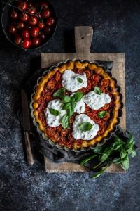 tarte tomates cerises stracciatella di buffala basilic