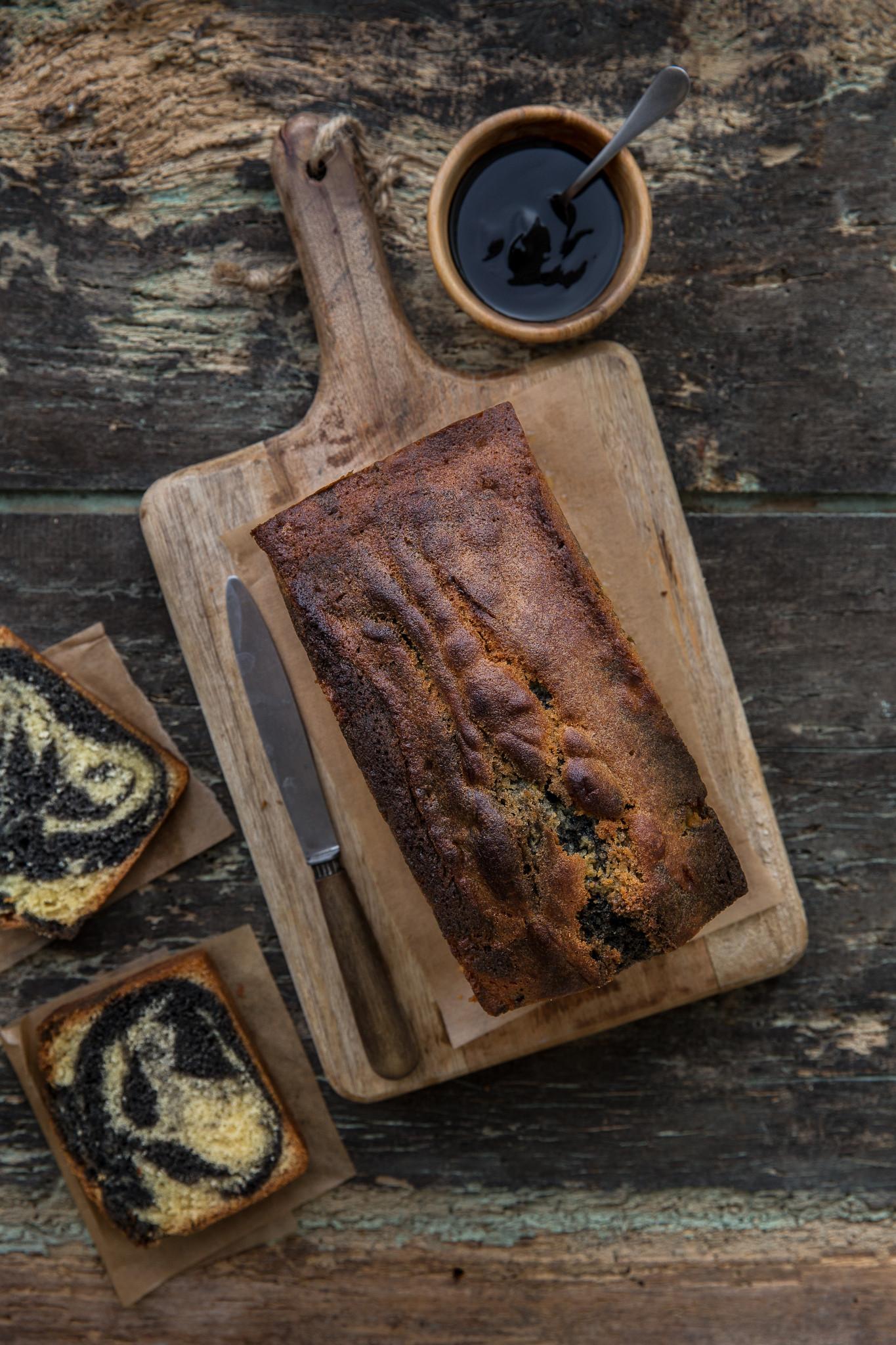 cake marbré vanille pate de sesame noir