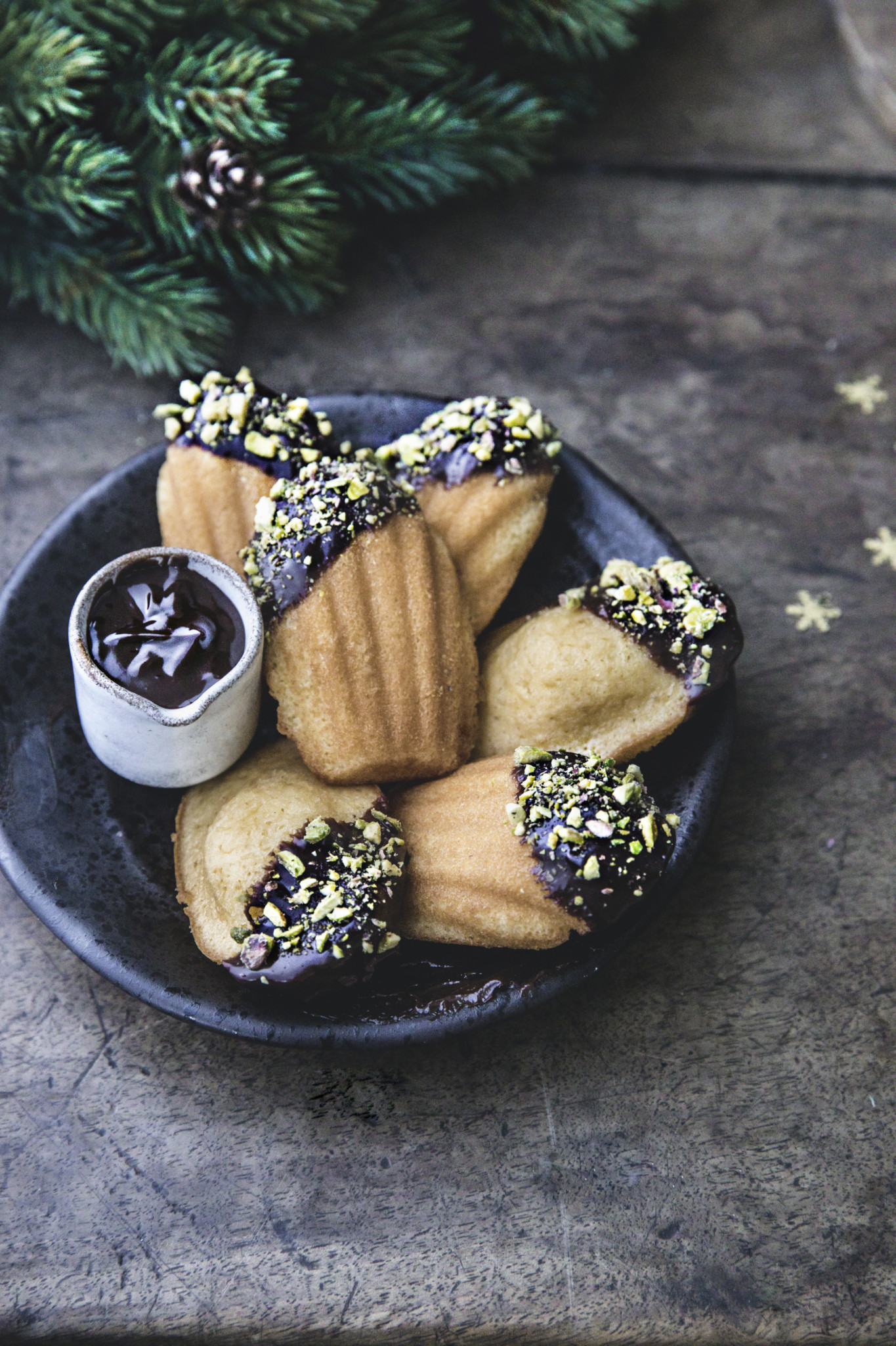 Chocolate dipped madeleine