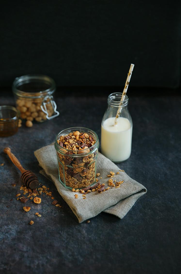 homemade granola chocolat noisettes