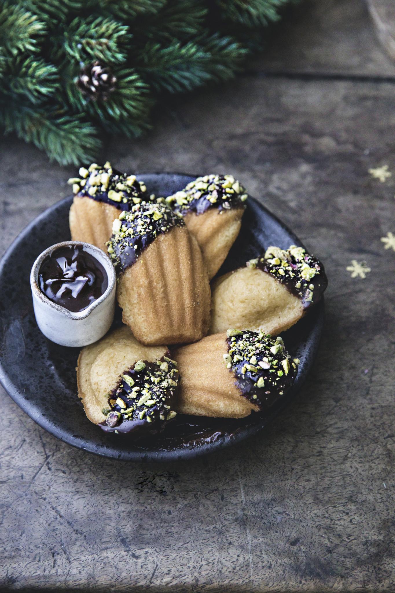 Chocolate dipped madeleine